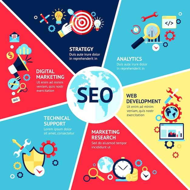 Seo Infographik-Set Kostenlose Vektoren