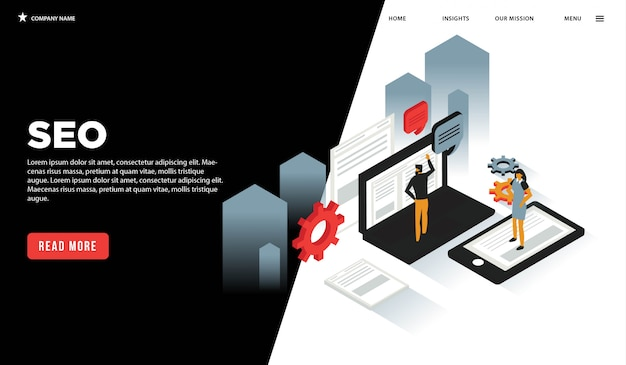 Seo isometrische webseite Premium Vektoren