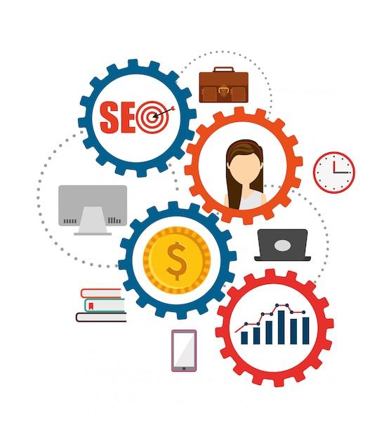 Seo konzept illustration Kostenlosen Vektoren