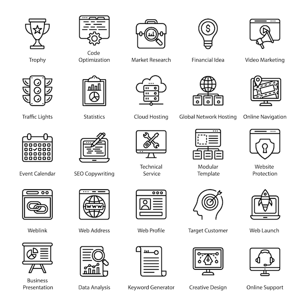Seo linie icons set Premium Vektoren