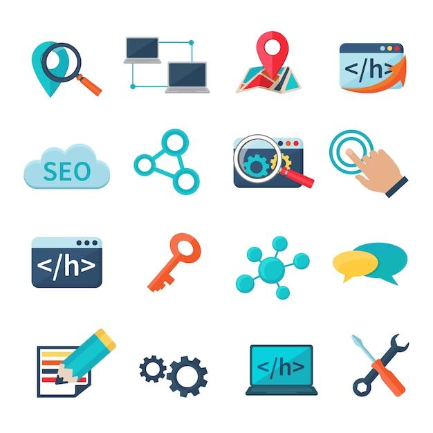 Seo marketing-analytik und flache ikonen der entwicklung stellten lokalisierte vektorillustration ein Kostenlosen Vektoren