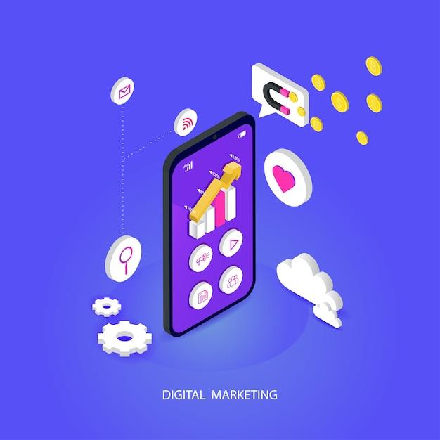 Seo oder suchmaschinenoptimierung isometrisch mobil. und digitale medien, die flaches vektorkonzept vermarkten Premium Vektoren