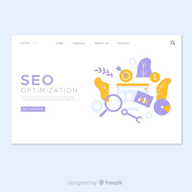 Seo optimierung landing page design Premium Vektoren