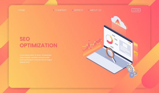 Seo optimierung webseitenvorlage konzept Premium Vektoren