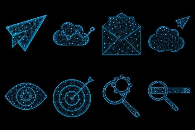 Seo polygonale icon-set Premium Vektoren