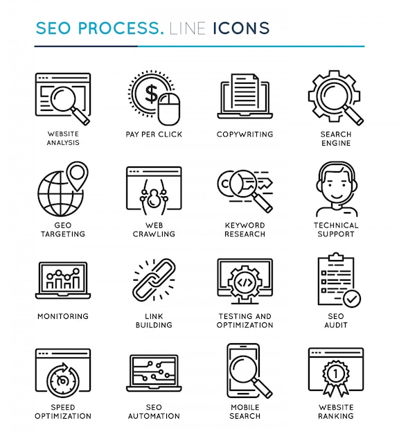 Seo search engine optimization prozess dünne linie icon-set. Premium Vektoren