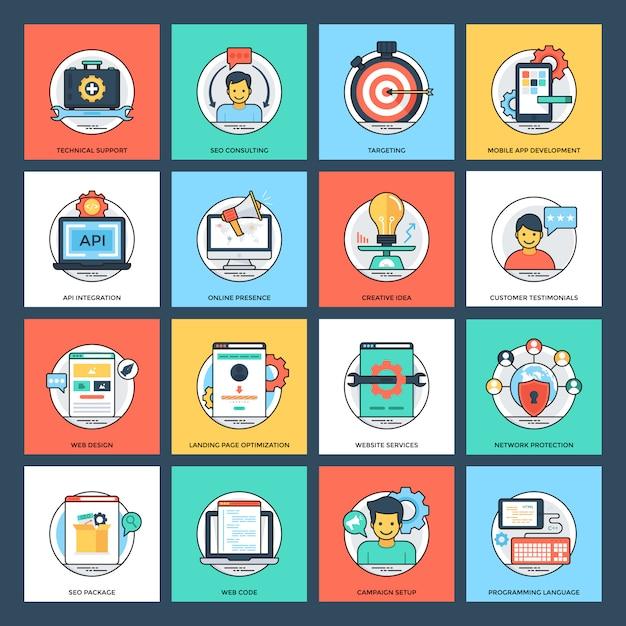Seo und flache ikonen der entwicklung Premium Vektoren