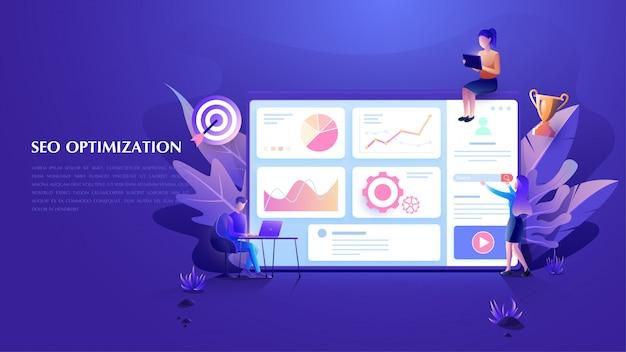 Seo und online marketing analytics hintergrund Premium Vektoren