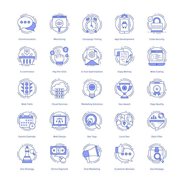 Seo vector icons set Premium Vektoren