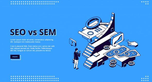 Seo vs sem isometrische landung, digitales marketing Kostenlosen Vektoren