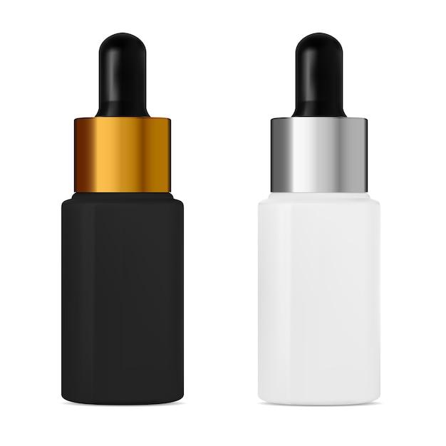 Serumtropfflasche mit pipette. kosmetisches aromaölbehälterdesign. fläschchen zur behandlung von gesichtskollagen. schwarz-weiß-pipettenkolben mit silberner und goldener kappe Premium Vektoren