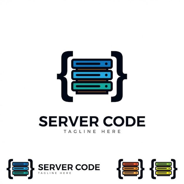 Server mit code-symbol vektor. Premium Vektoren