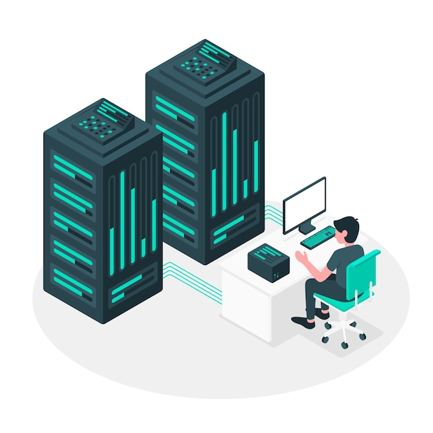Serverkonzept illustration Kostenlosen Vektoren