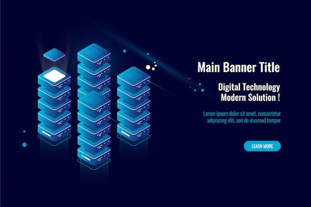 Serverraum, große datenverarbeitung der isometrischen ikone, datenwolkenspeicherlager, datenbankkonzept Kostenlosen Vektoren