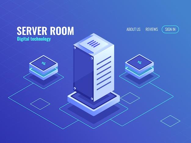 Serverraum, großes datenverarbeitungszentrum und datenbank, digitale computertechnologie Kostenlosen Vektoren