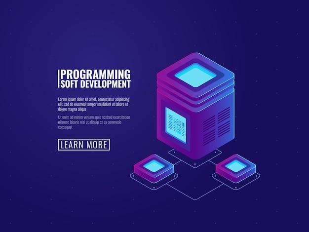 Serverraum-symbol, verarbeitung von big data, futuristisches rechenzentrum, vernetzung Kostenlosen Vektoren