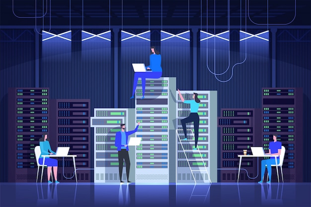 Serverraum, systemadministration, kontrollzentrum, it-technologie Premium Vektoren