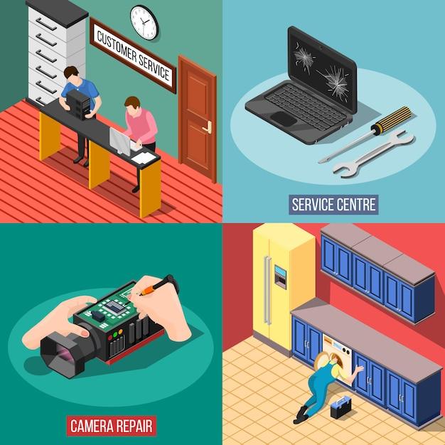 Service-center-design-konzept Kostenlosen Vektoren