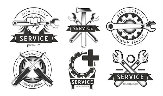 Service, reparaturset von etiketten oder logos. Premium Vektoren