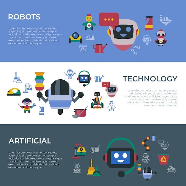 Service und reinigung der roboter-symbole für zu hause Premium Vektoren