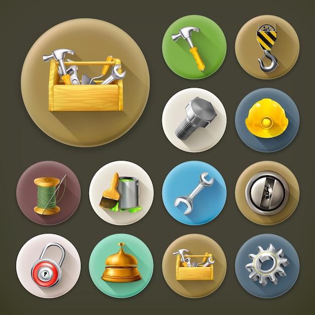 Service und reparatur, langes schatten-icon-set Premium Vektoren