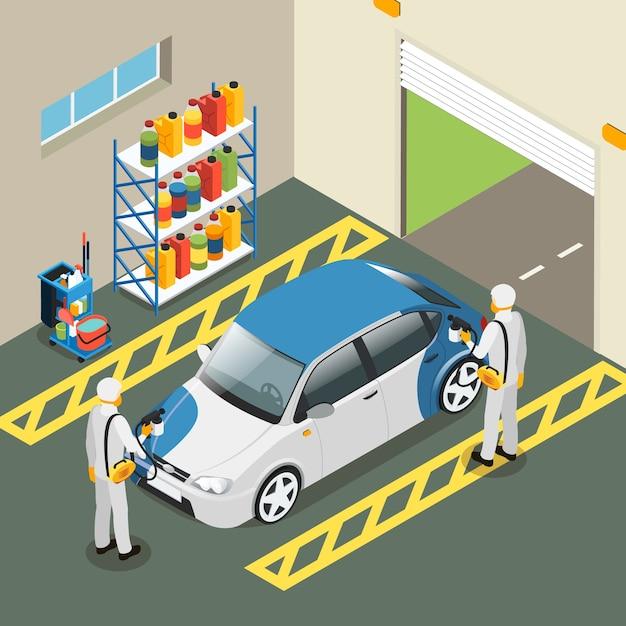 Servicekonzept für isometrische autolackierung Kostenlosen Vektoren