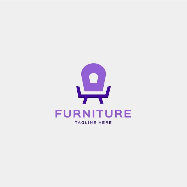 Sesselform logo für möbelunternehmen Kostenlosen Vektoren
