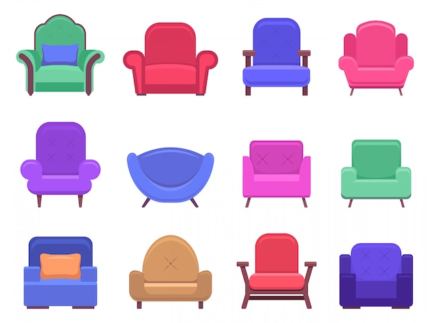Sesselmöbel. sessel sofa, wohnung interieur bequeme möbel, moderne gemütliche häusliche stuhl illustration ikonen gesetzt. weicher sitzstuhl, sitzmöbel, sessel modisch Premium Vektoren