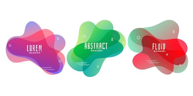 Set abstrakte flüssige oder flüssige formfahnen Kostenlosen Vektoren