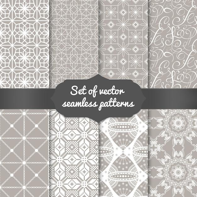 Set abstrakte geometrische musterhintergründe. elegante hintergründe für karten und einladungen. Kostenlosen Vektoren
