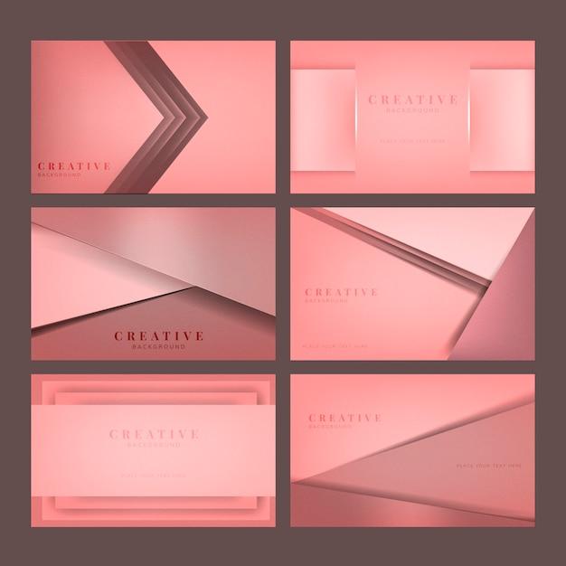 Set abstrakte kreative hintergrunddesigne im rosa Kostenlosen Vektoren