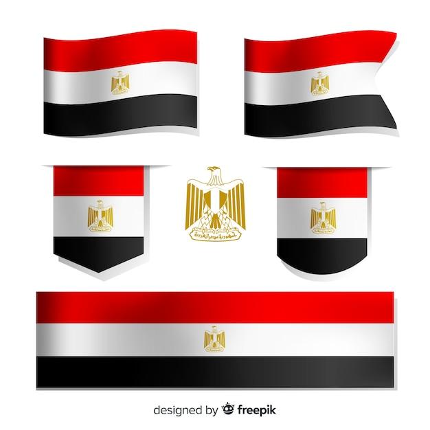 Set ägypten nationalflaggen Kostenlosen Vektoren