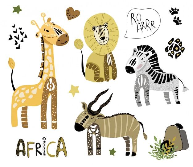 Set afrikanische karikaturtiere auf weiß Premium Vektoren