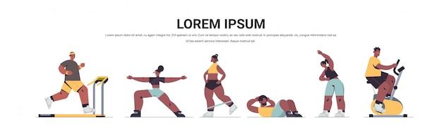 Set afroamerikaner menschen, die körperliche übungen männer frauen mit training cardio fitness training gesunden lebensstil sport konzept in voller länge kopie raum illustration machen Premium Vektoren