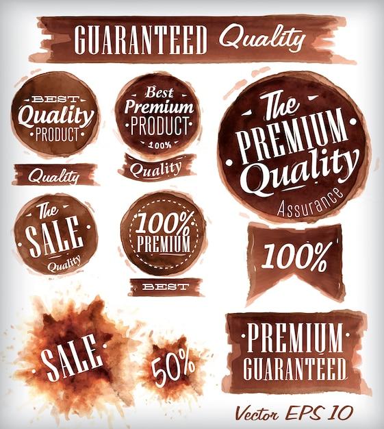 Set aquarell qualitätsabzeichen sammlung Premium Vektoren