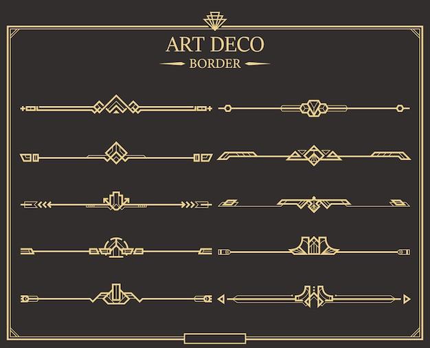 Set art deco gold kalligraphische seitenteiler. Premium Vektoren