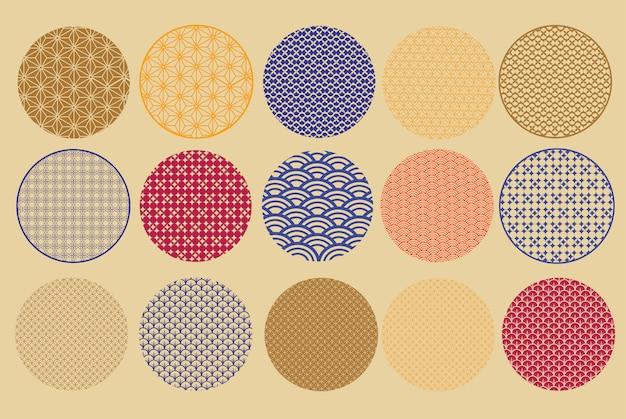 Set asiatische ikone im orientalischen flachen stil. Premium Vektoren