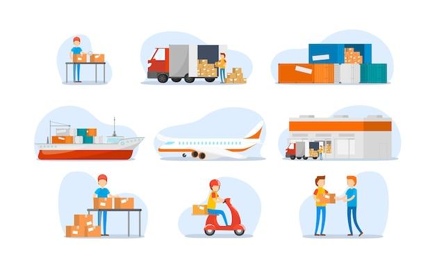 Set auf weltweite schifffahrt, schwerer transport Premium Vektoren