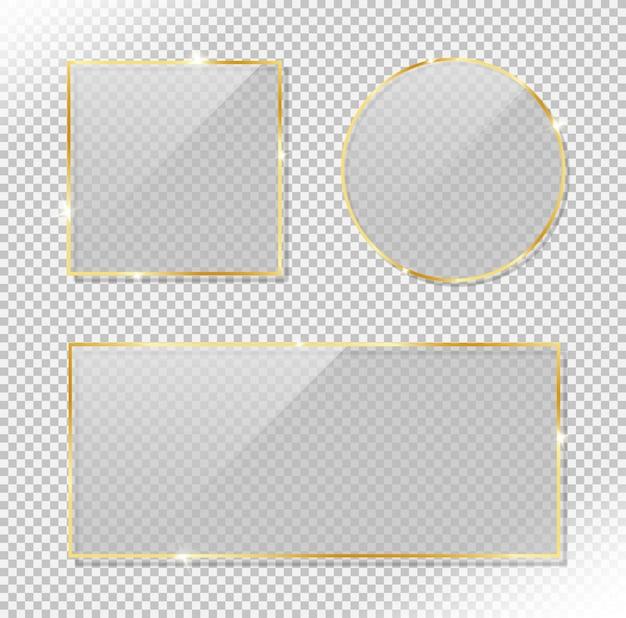 Set aus glänzendem kreis, rechteck und quadratischem goldrahmen mit glänzendem blendeffekt. realistischer vektor des reflektierenden glases Premium Vektoren
