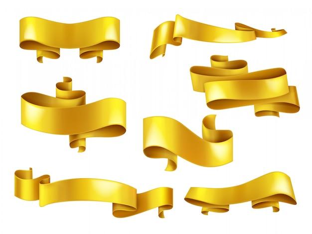 Set aus glänzenden gelben oder goldenen bändern Kostenlosen Vektoren