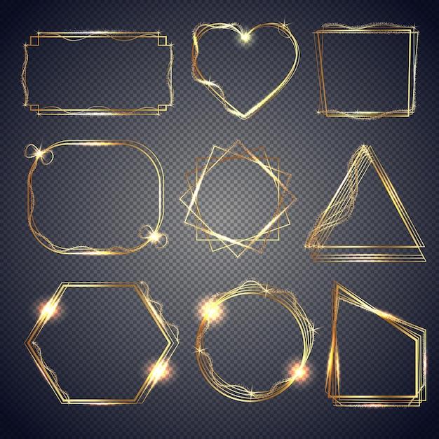 Set aus glänzenden goldrahmen Premium Vektoren