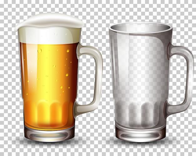Set aus glas und bier Kostenlosen Vektoren