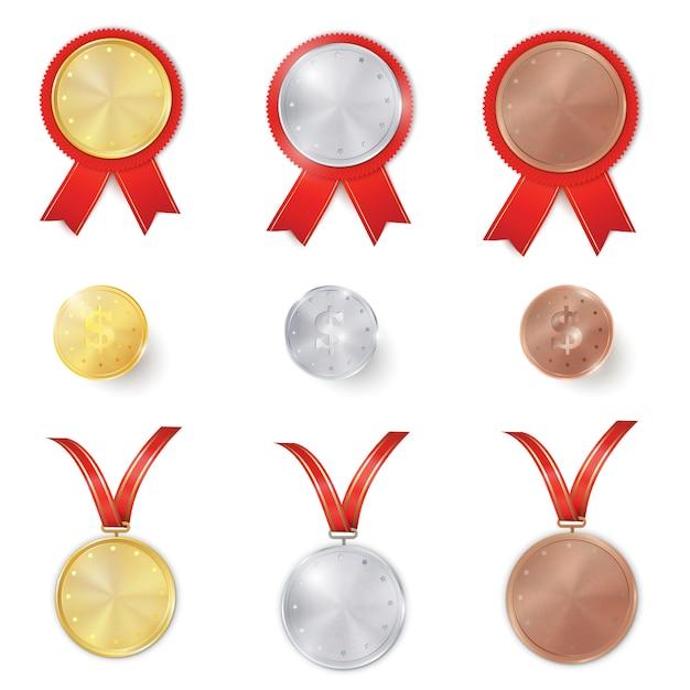 Set aus gold, silber und bronze Premium Vektoren