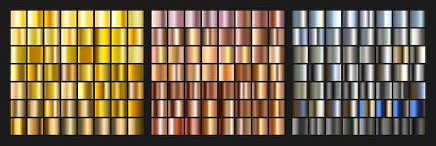 Set aus gold-, silber- und metallverlauf. helles texturelement für das web. illustration Premium Vektoren