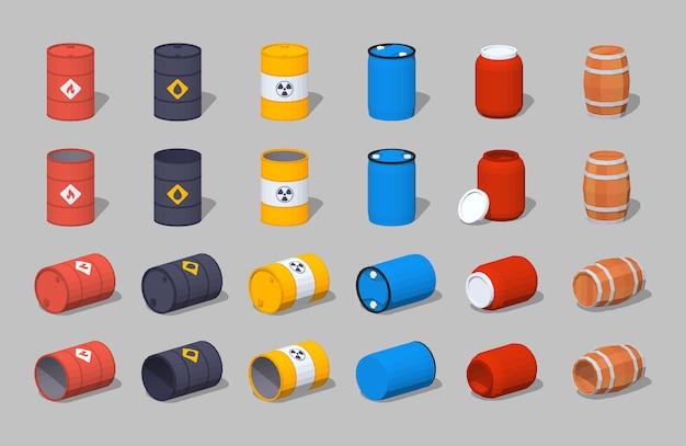 Set aus isometrischen 3d-fässern aus metall, kunststoff und holz Premium Vektoren