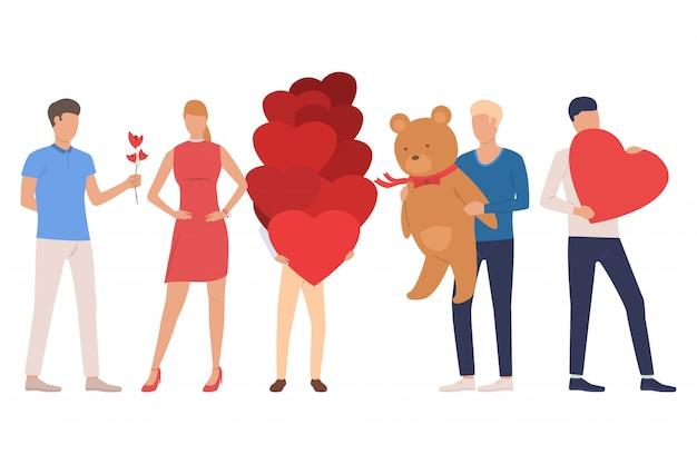 Set aus menschen. männer und frauen, die teddybären halten Kostenlosen Vektoren