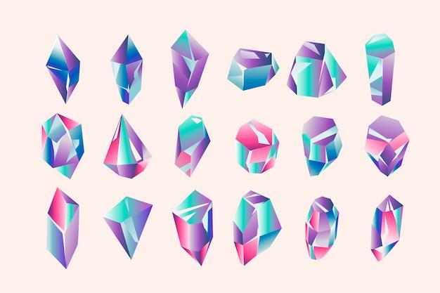 Set aus schönen geometrischen kristallen und edelsteinen Premium Vektoren