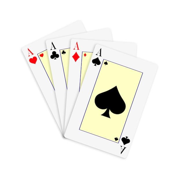 Set aus vier kartenstapeln mit assen zum spielen von poker und casino. Premium Vektoren