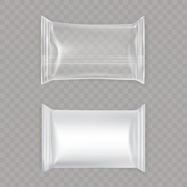 Set aus weißen und transparenten plastiktüten. Kostenlosen Vektoren
