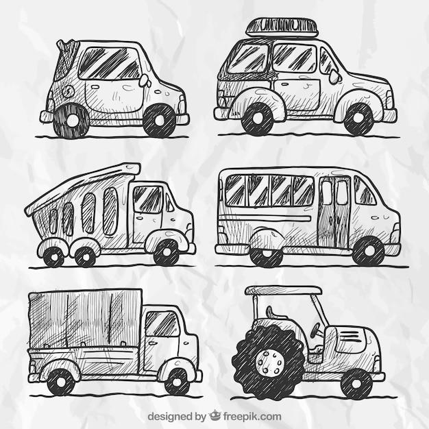 Set Auto Skizzen | Download der kostenlosen Vektor